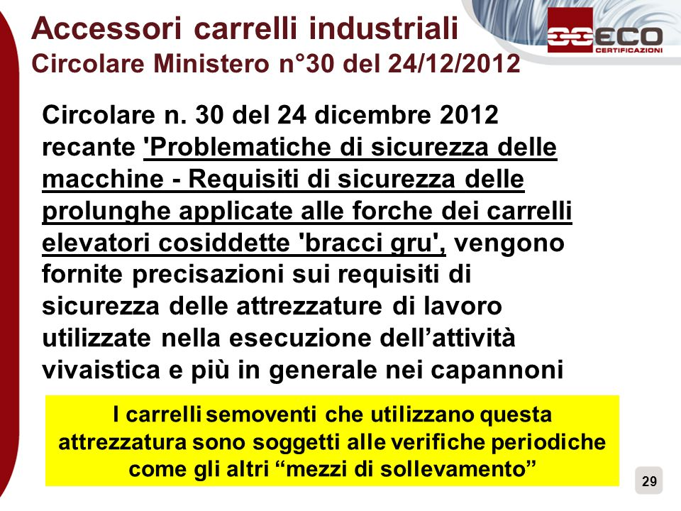 Accessori carrelli industriali