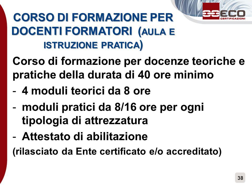 CORSO DI FORMAZIONE PER DOCENTI FORMATORI (aula e istruzione pratica)
