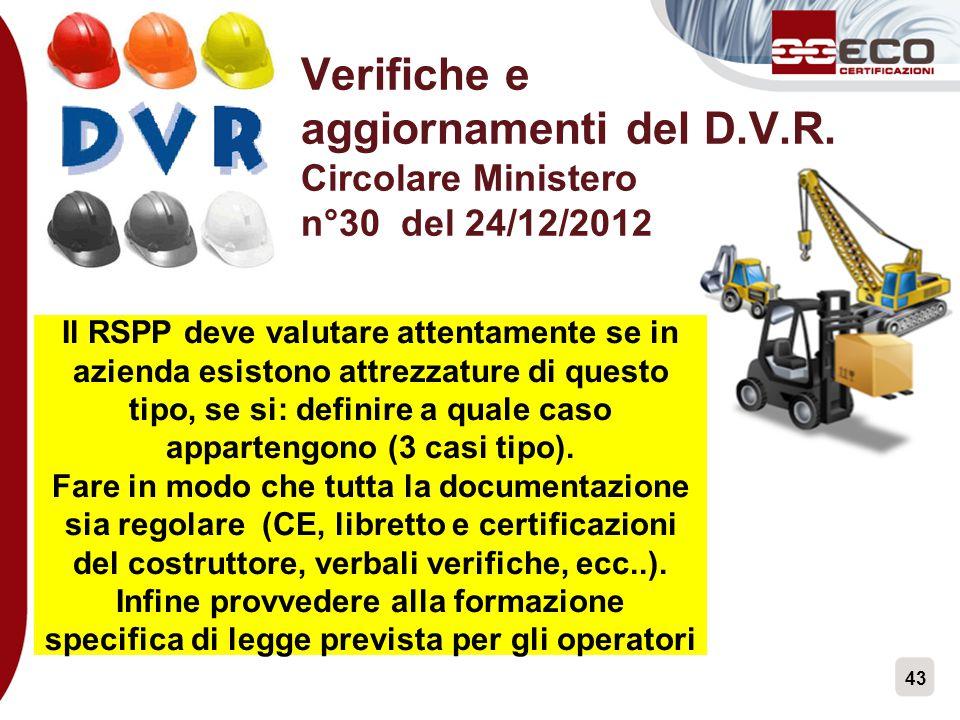 Verifiche e aggiornamenti del D. V. R