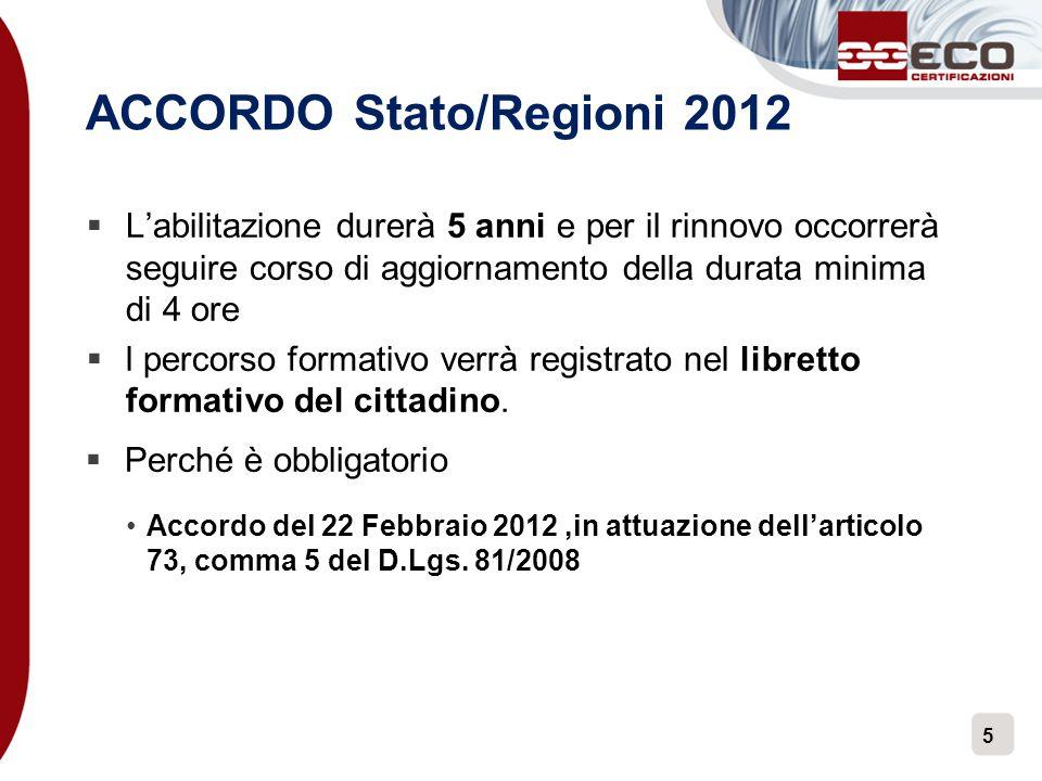 ACCORDO Stato/Regioni 2012