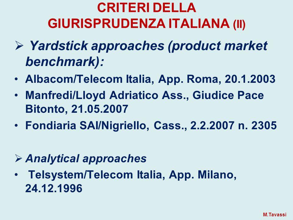 CRITERI DELLA GIURISPRUDENZA ITALIANA (II)