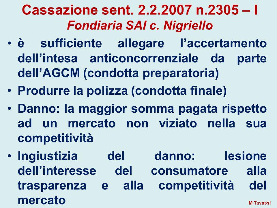 Cassazione sent. 2.2.2007 n.2305 – I Fondiaria SAI c. Nigriello