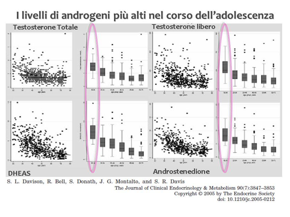 I livelli di androgeni più alti nel corso dell'adolescenza