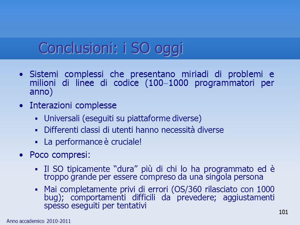 Conclusioni: i SO oggi Sistemi complessi che presentano miriadi di problemi e milioni di linee di codice (1001000 programmatori per anno)