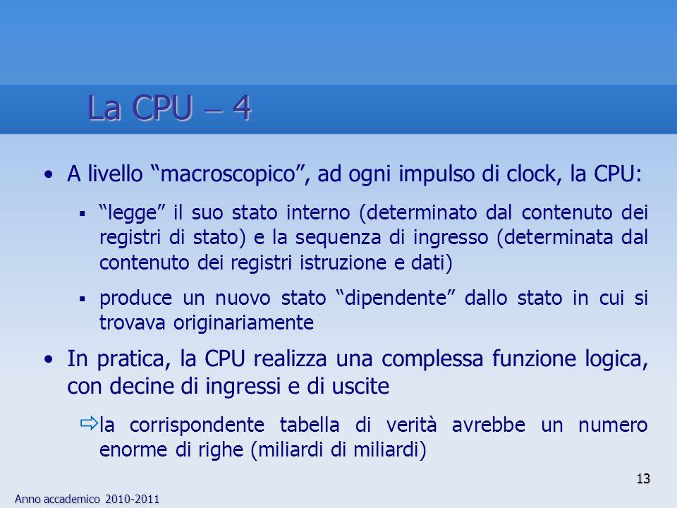 La CPU  4 A livello macroscopico , ad ogni impulso di clock, la CPU: