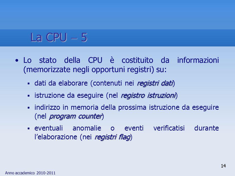 La CPU  5 Lo stato della CPU è costituito da informazioni (memorizzate negli opportuni registri) su: