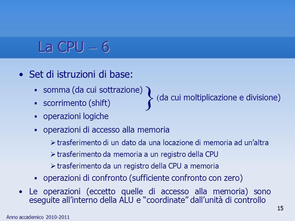 } La CPU  6 Set di istruzioni di base: somma (da cui sottrazione)