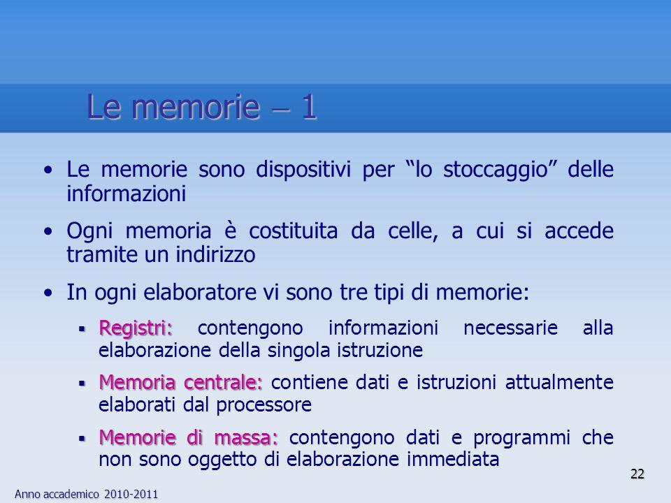 Le memorie  1 Le memorie sono dispositivi per lo stoccaggio delle informazioni.