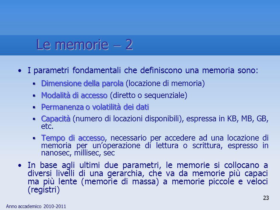 Le memorie  2 I parametri fondamentali che definiscono una memoria sono: Dimensione della parola (locazione di memoria)
