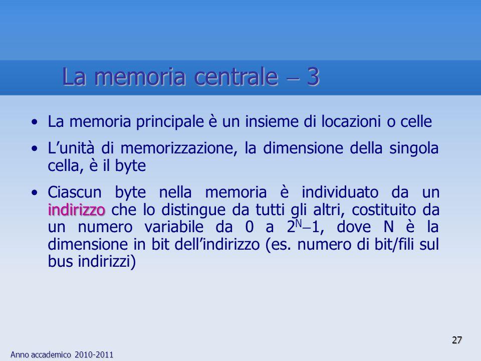 La memoria centrale  3 La memoria principale è un insieme di locazioni o celle.