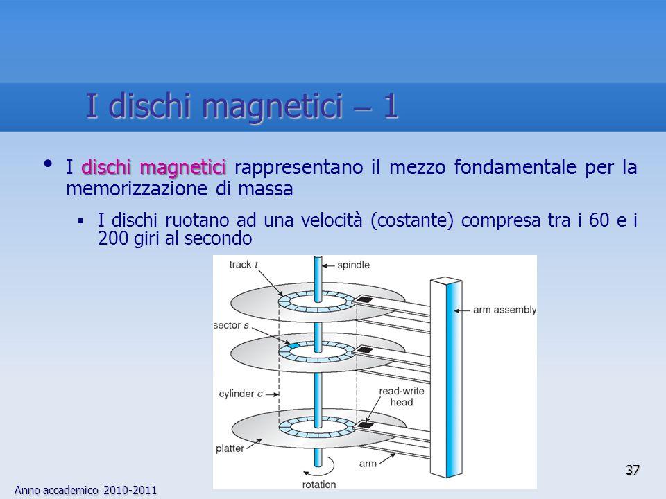 I dischi magnetici  1 I dischi magnetici rappresentano il mezzo fondamentale per la memorizzazione di massa.