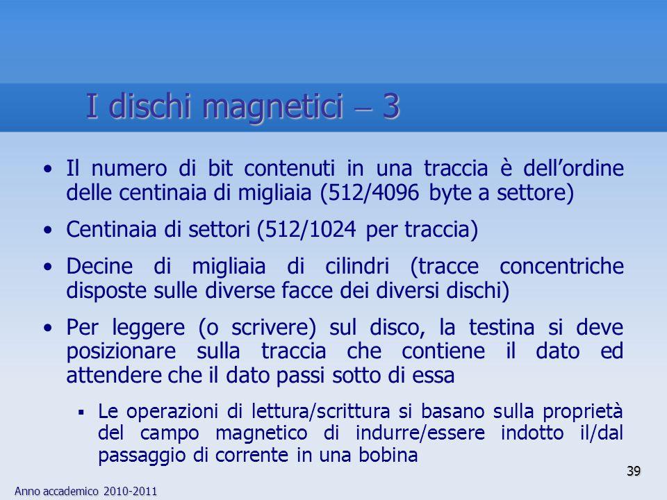 I dischi magnetici  3 Il numero di bit contenuti in una traccia è dell'ordine delle centinaia di migliaia (512/4096 byte a settore)