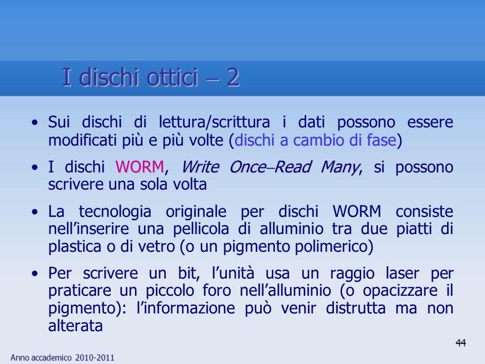 I dischi ottici  2 Sui dischi di lettura/scrittura i dati possono essere modificati più e più volte (dischi a cambio di fase)