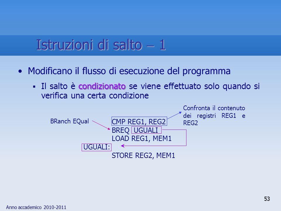 Istruzioni di salto  1 Modificano il flusso di esecuzione del programma.