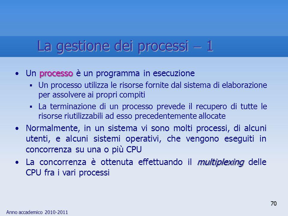 La gestione dei processi  1