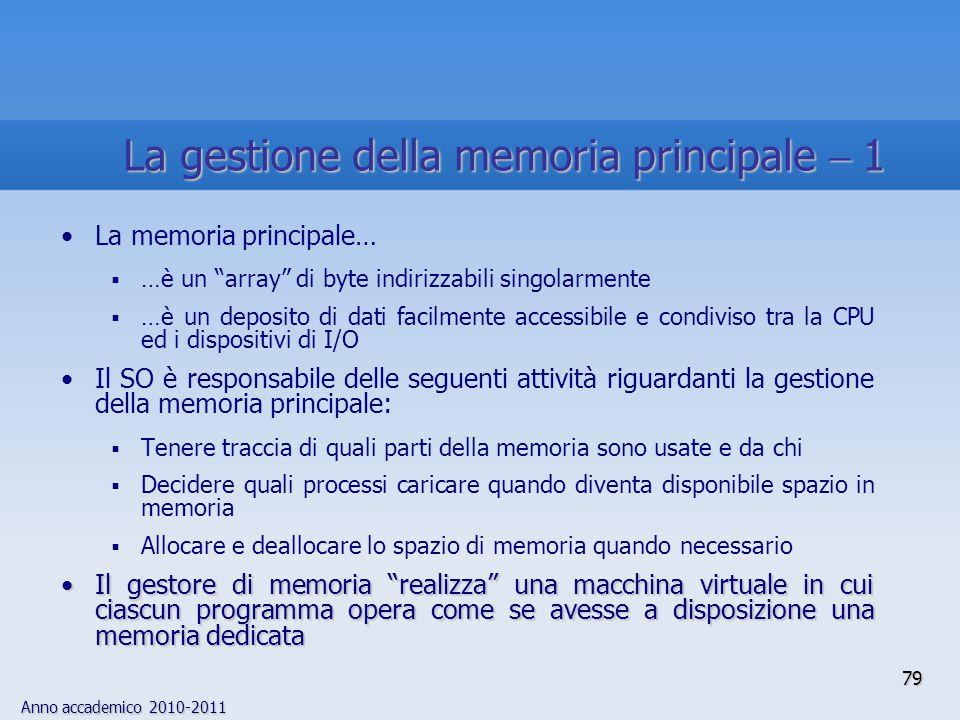 La gestione della memoria principale  1