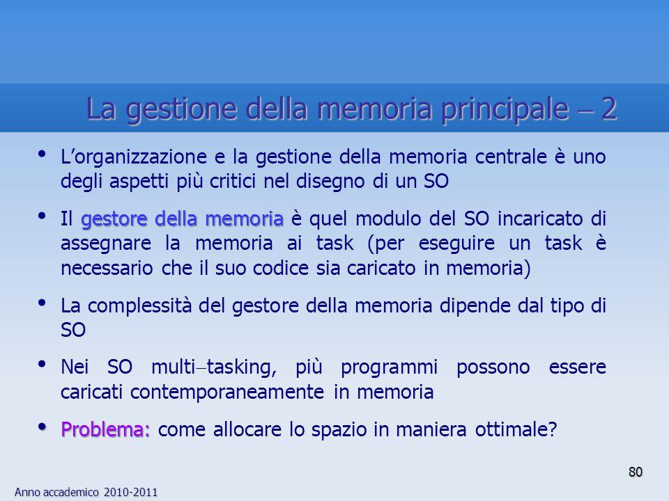 La gestione della memoria principale  2