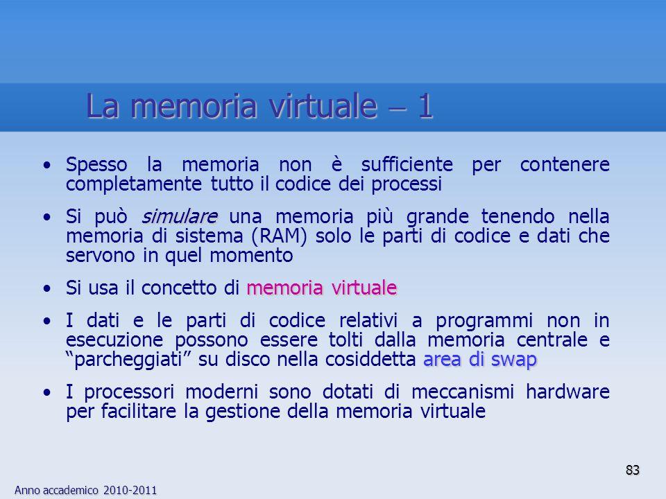 La memoria virtuale  1 Spesso la memoria non è sufficiente per contenere completamente tutto il codice dei processi.