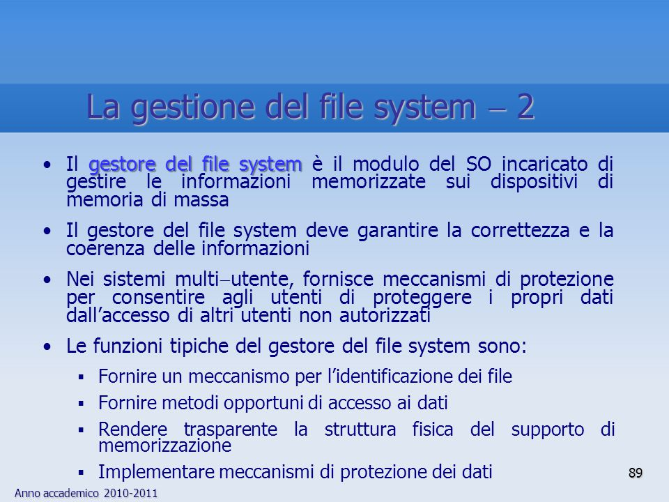 La gestione del file system  2