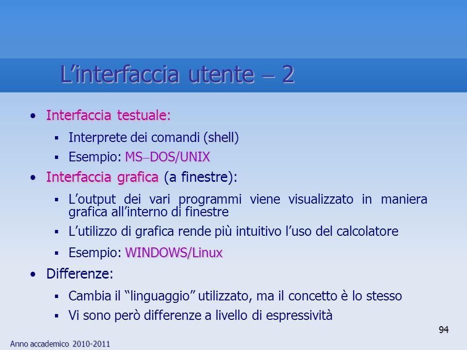 L'interfaccia utente  2