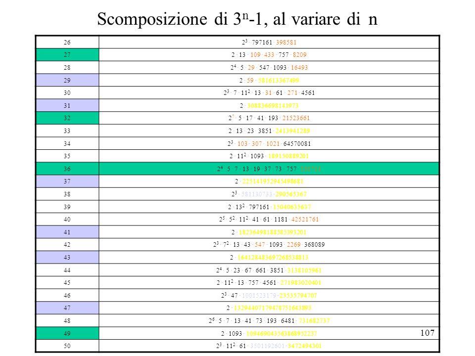 Scomposizione di 3n-1, al variare di n