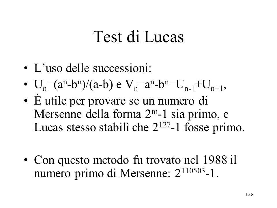 Test di Lucas L'uso delle successioni: