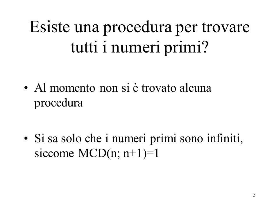 Esiste una procedura per trovare tutti i numeri primi