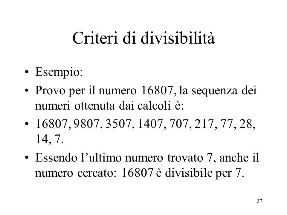 Criteri di divisibilità