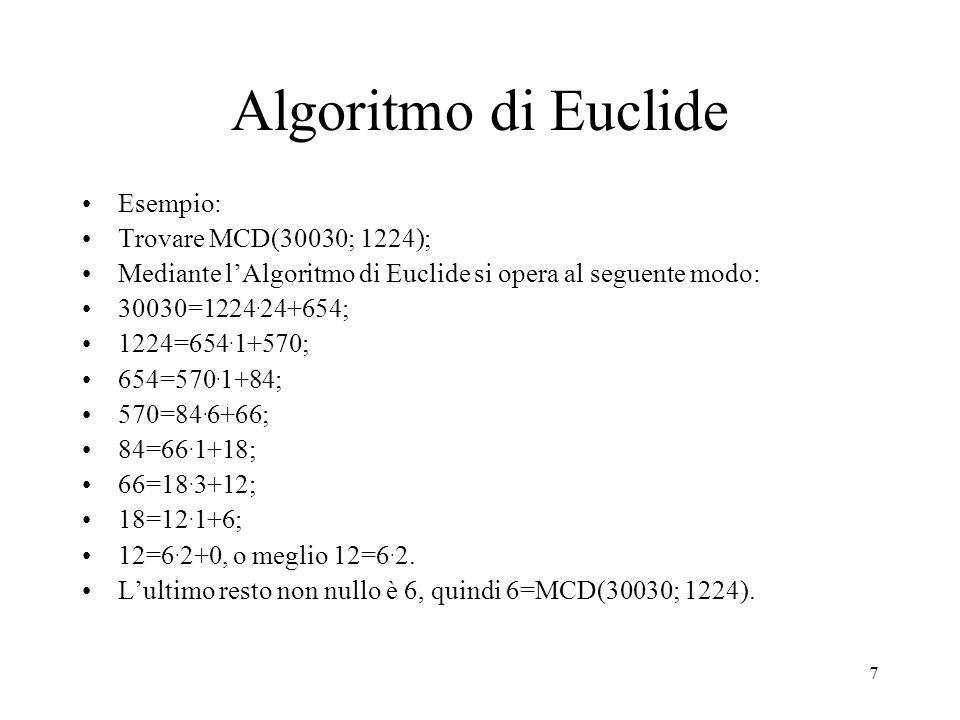 Algoritmo di Euclide Esempio: Trovare MCD(30030; 1224);
