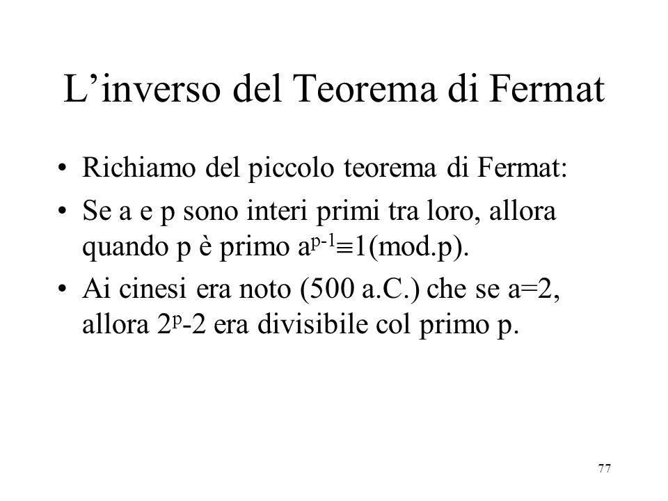 L'inverso del Teorema di Fermat