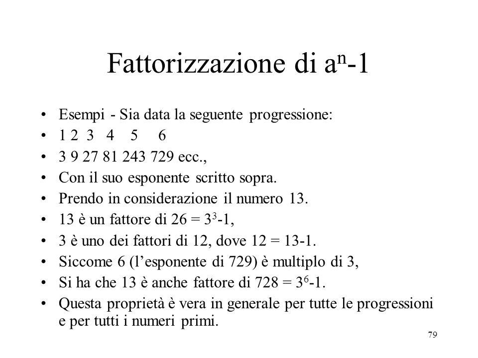 Fattorizzazione di an-1