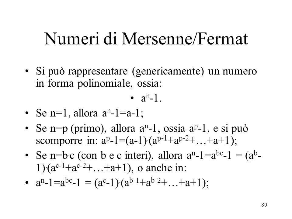 Numeri di Mersenne/Fermat