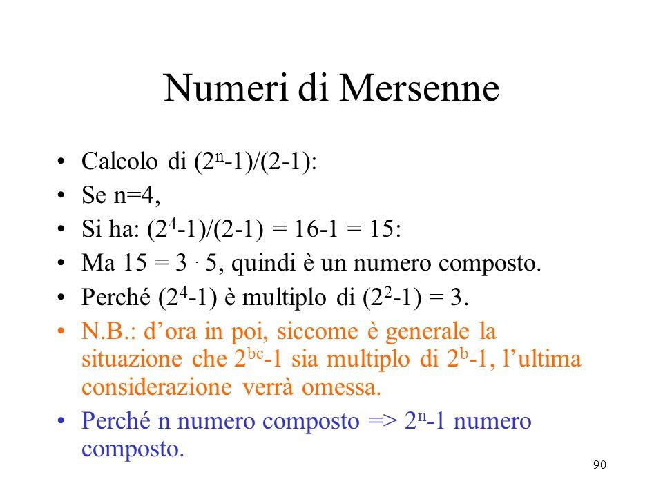 Numeri di Mersenne Calcolo di (2n-1)/(2-1): Se n=4,
