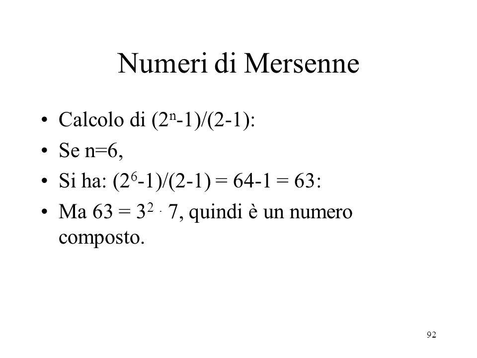 Numeri di Mersenne Calcolo di (2n-1)/(2-1): Se n=6,