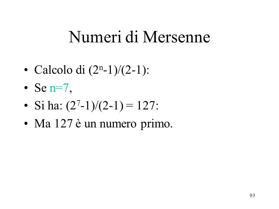 Numeri di Mersenne Calcolo di (2n-1)/(2-1): Se n=7,