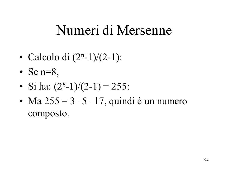 Numeri di Mersenne Calcolo di (2n-1)/(2-1): Se n=8,