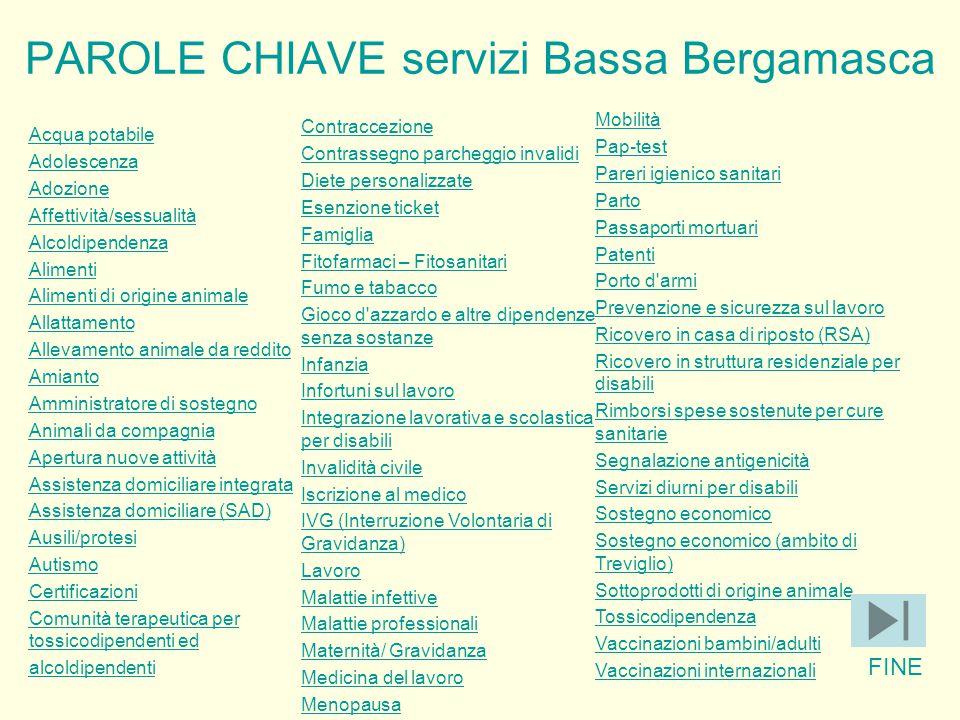 PAROLE CHIAVE servizi Bassa Bergamasca