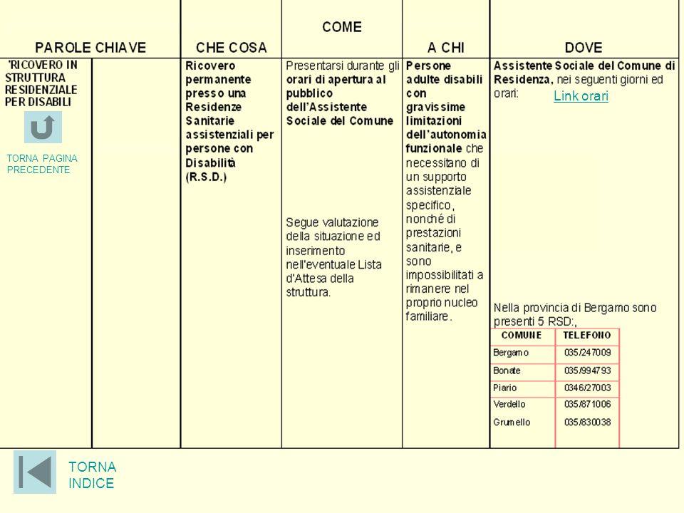 Link orari TORNA PAGINA PRECEDENTE TORNA INDICE