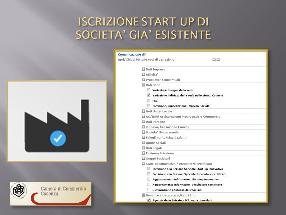 ISCRIZIONE START UP DI SOCIETA' GIA' ESISTENTE