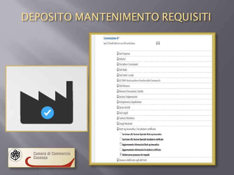 DEPOSITO MANTENIMENTO REQUISITI