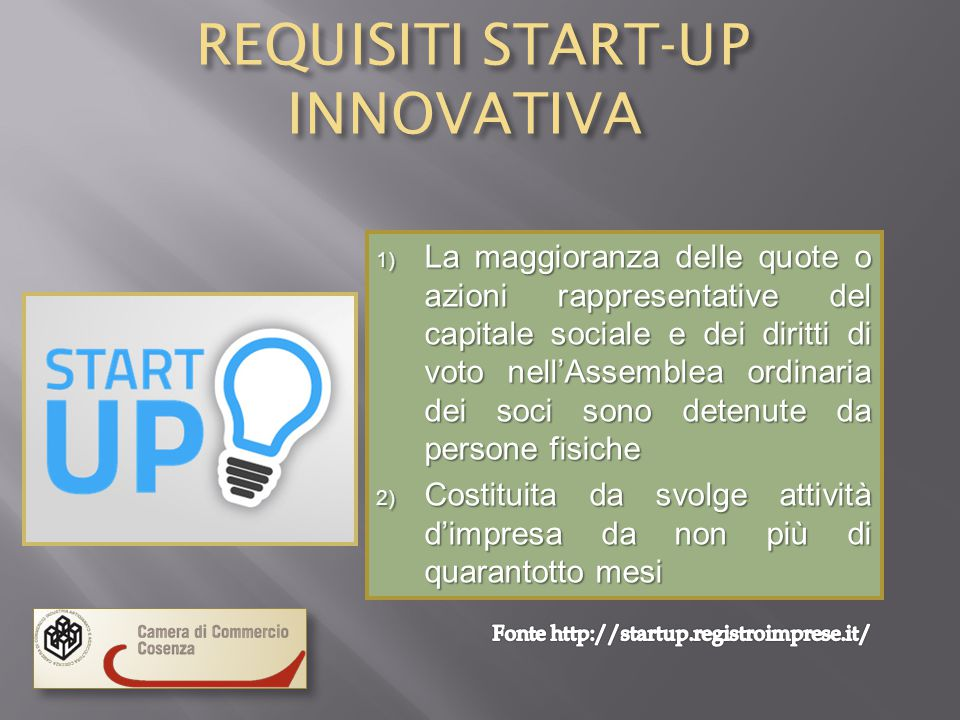 REQUISITI START-UP INNOVATIVA