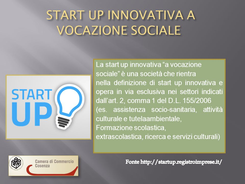 START UP INNOVATIVA A VOCAZIONE SOCIALE