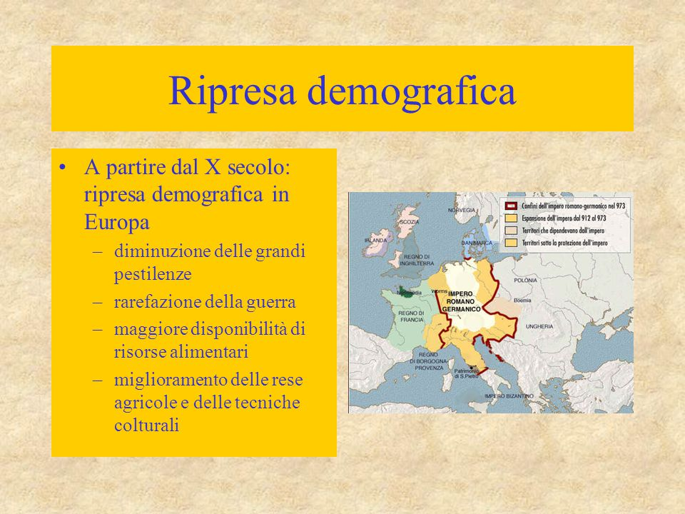 Ripresa demografica A partire dal X secolo: ripresa demografica in Europa. diminuzione delle grandi pestilenze.