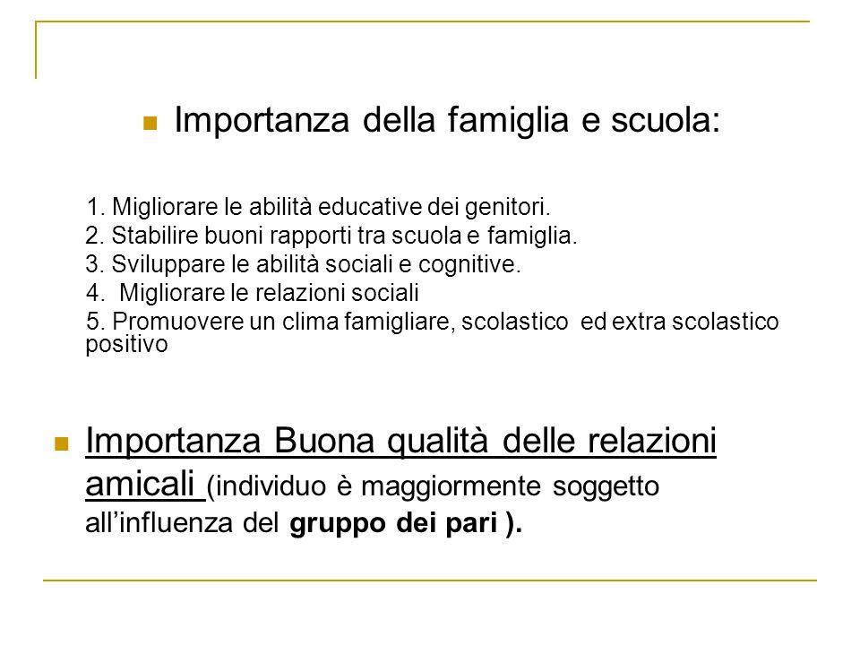 Importanza della famiglia e scuola: