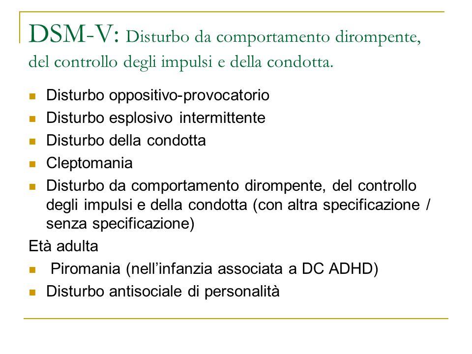 DSM-V: Disturbo da comportamento dirompente, del controllo degli impulsi e della condotta.