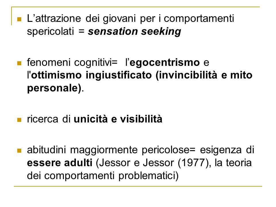 L'attrazione dei giovani per i comportamenti spericolati = sensation seeking