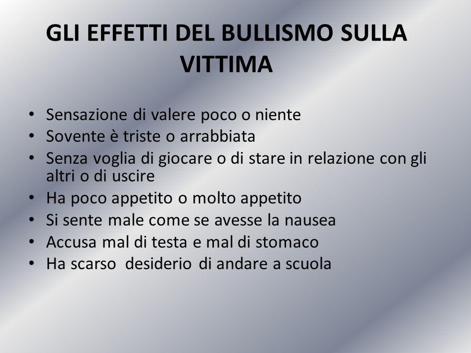 GLI EFFETTI DEL BULLISMO SULLA VITTIMA