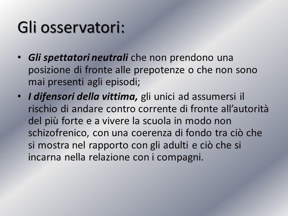 Gli osservatori: Gli spettatori neutrali che non prendono una posizione di fronte alle prepotenze o che non sono mai presenti agli episodi;