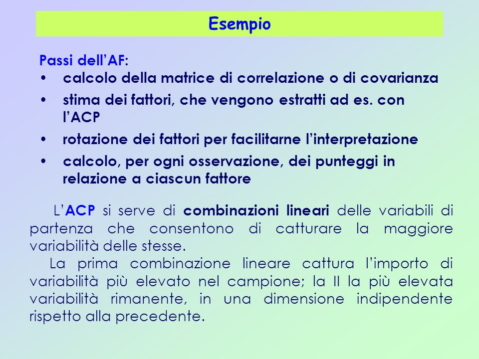 Esempio Passi dell'AF: calcolo della matrice di correlazione o di covarianza. stima dei fattori, che vengono estratti ad es. con l'ACP.