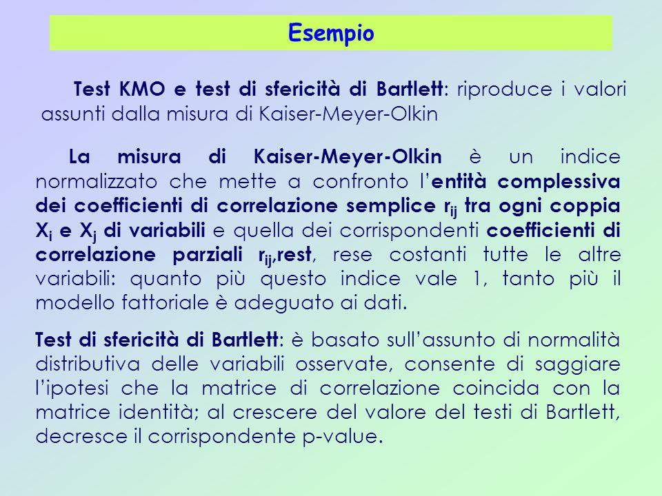 Esempio Test KMO e test di sfericità di Bartlett: riproduce i valori assunti dalla misura di Kaiser-Meyer-Olkin.
